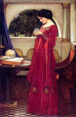John William Waterhouse, Oil Painting 1902, The Crystal Ball