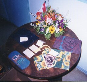 Table Display from our Convention of 3 Tarot Reading Cloth Sets custom made by Arcane Accessories