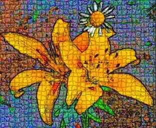 Yelloe Lily & Daisy Mosaic by Cheryl Lynne Bradley